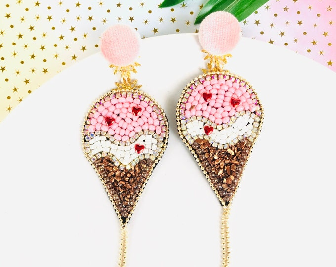 Beaded Ice Cream Earrings, pink ice cream cone earrings, dainty kawaii earrings, summer earrings, funny earrings, wanderlust jewelry