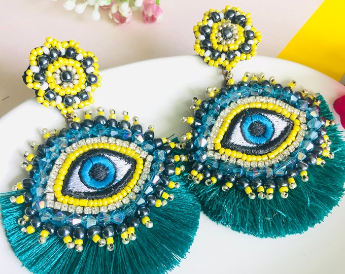 Beaded Evil eye  tassel earring, handmade evil eye earrings, statement earrings, evil eye charm earrings, stunning earrings, funny earrings