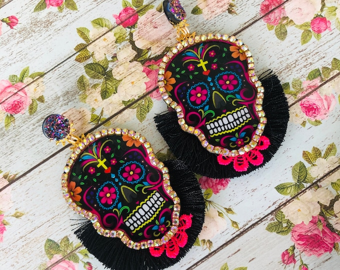 Sugar Skull earrings, day of the death, handmade statement earrings, black tassel earrings, wanderlust jewelry, halloween earrings
