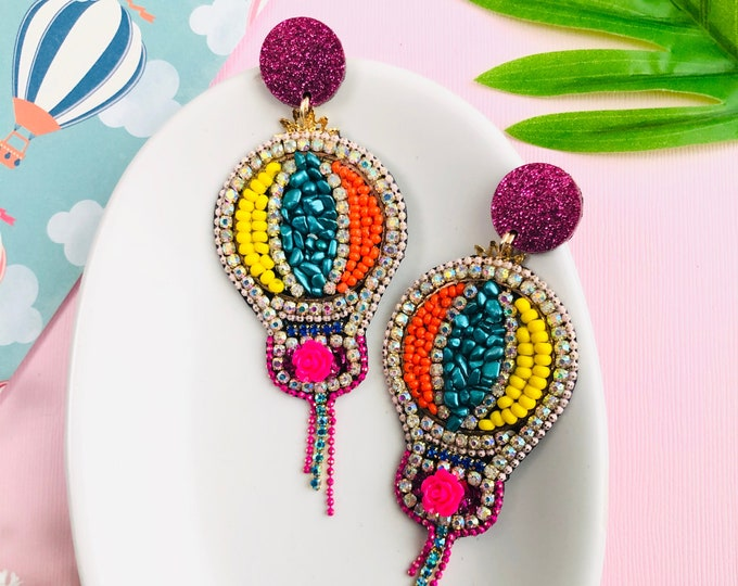 Hot air balloon earrings, beaded statement earrings, quirky earrings, rhinestone rainbow earrings, steampunk earrings, kawaii earrings