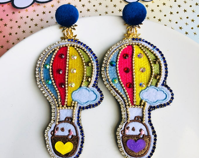 Hot air balloon earrings, statement earrings, quirky earrings,, rhinestone rainbow earrings, steampunk earrings, kawaii earrings