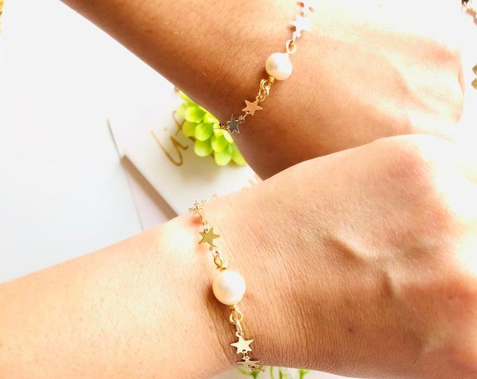 Fresh water pearl bracelet, tiny pearl bracelet, mother daughter bracelet, dainty single pearl bracelet, mothers day gift
