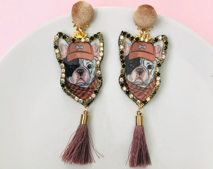 Handmade Dog Earrings, Doggy tassel earrings, statement earrings, funny dog jewelry, pet earrings, french bulldog earrings, edgy earrings