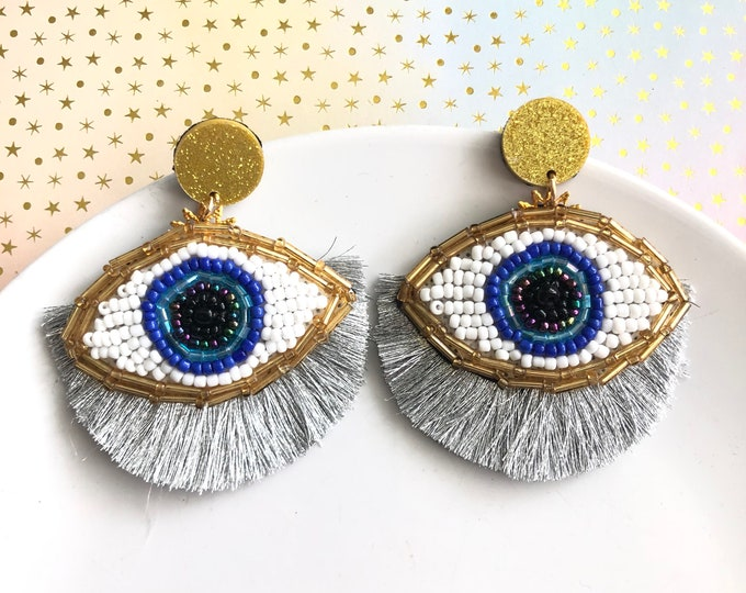 Beaded Evil eye earring, handmade statement earrings, silver tassel earrings, stunning earrings, wanderlust jewelry, evil eye earrings