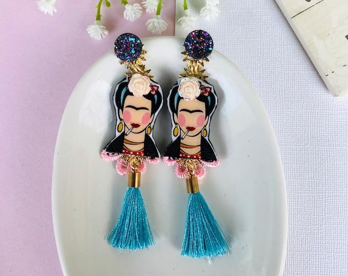 Frida Kahlo Earrings, mexican earrings, Frida Kahlo Jewelry, Statement earrings, Frida Earrings, long tassel earrings, fringe earrrings