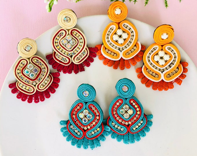 Handmade Soutache earring, soutache jewelry, Statement earrings, stunning earrings, oversized earrings, soutache earrings