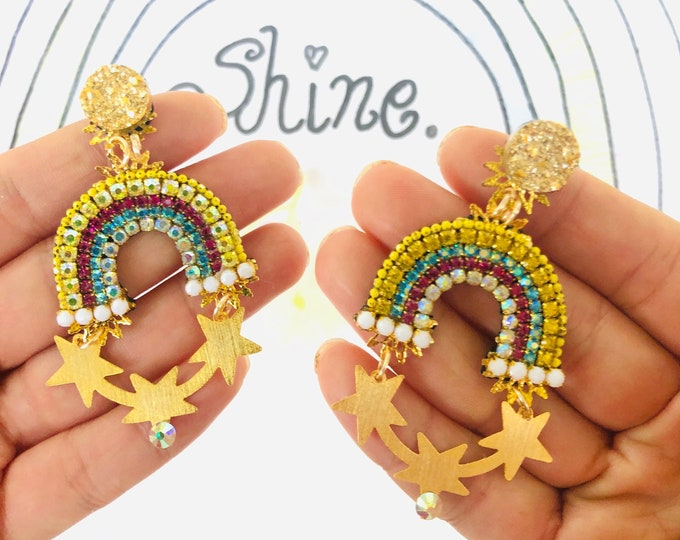 Rhinestone rainbow earrings, colorful statement earrings, dainty star earrings, wanderlust jewelry, kawaii earrings, edgy earrings