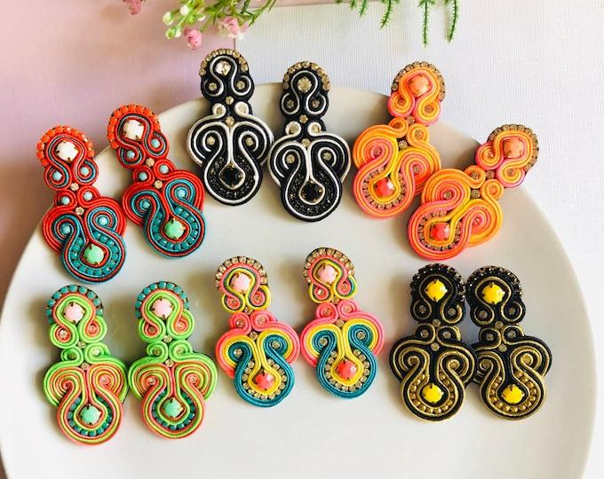Handmade soutache earring, statement earrings, soutache jewelry, wanderlust earrings, stunning earrings, soutache earrings