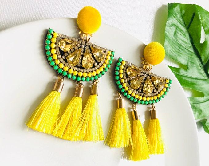 Lemon Earrings, lemon slice earrings, fruit earrings, yellow tassel earrings, summer earrings, wanderlust earrings