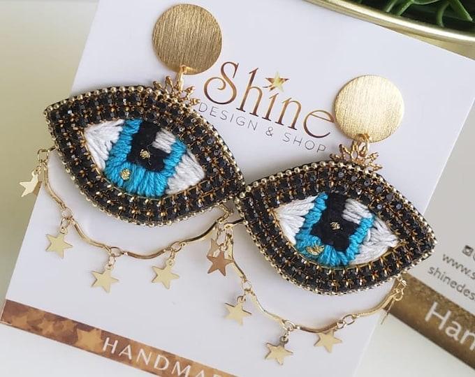 Evil eye earrings,  star chain, embroidered eye, statement earrings, handmade earrings,  blue eye .
