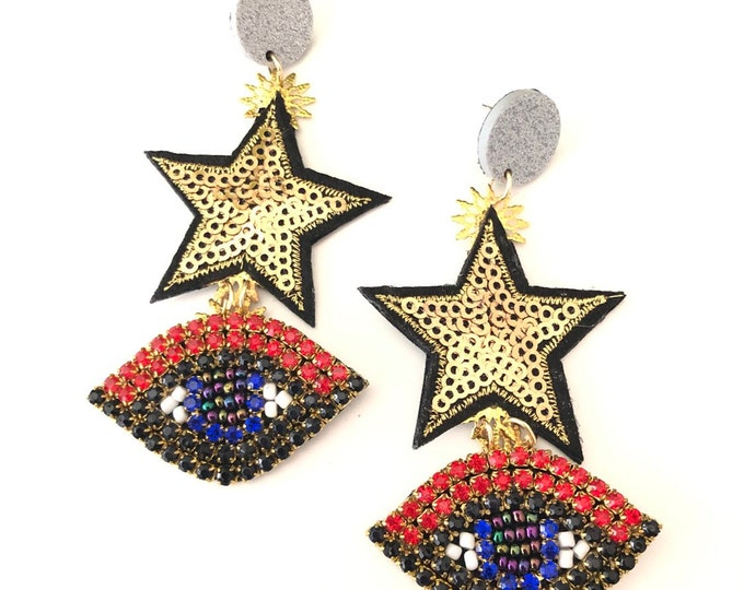 handmade earrings evil eye stars