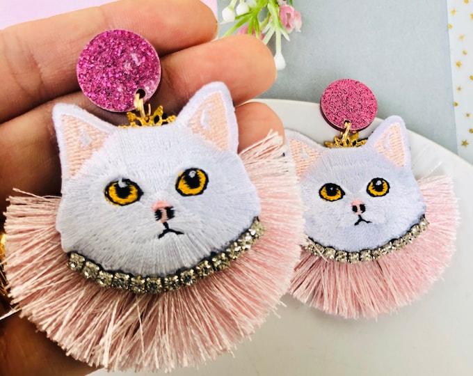 Handmade Cat earrings, Kitty cat earrings, pink tassel earrings, Statement earrings, funny earrings, edgy earrings