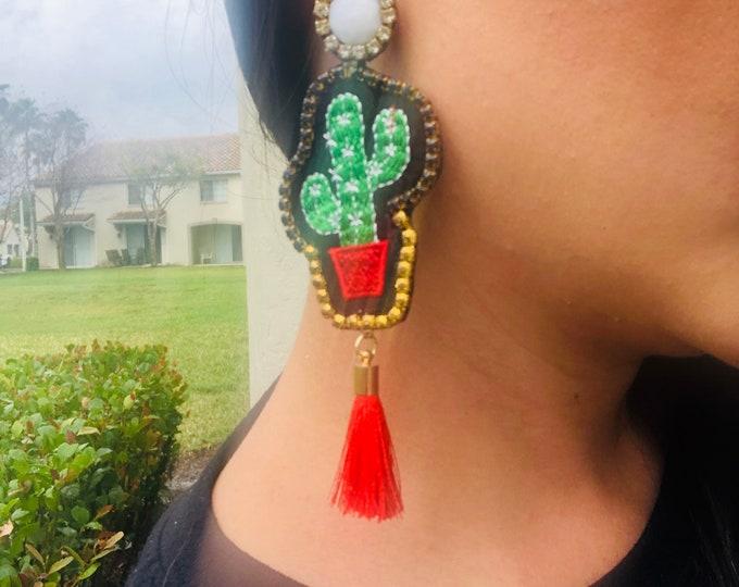 Handmade Cactus Earrings, cactus fringe earrings, tassel earrings, long fringe earrings, summer earrings