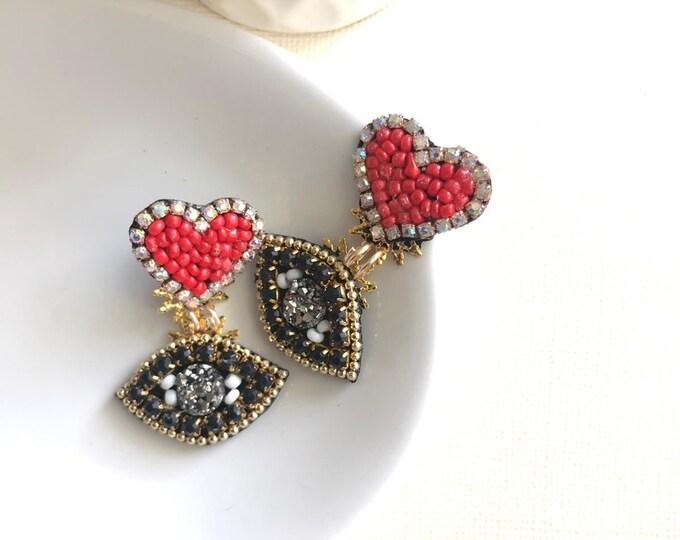 Handmade earrings. Small earrings. Heart earrings. Evil eye earrings. Red earrings.