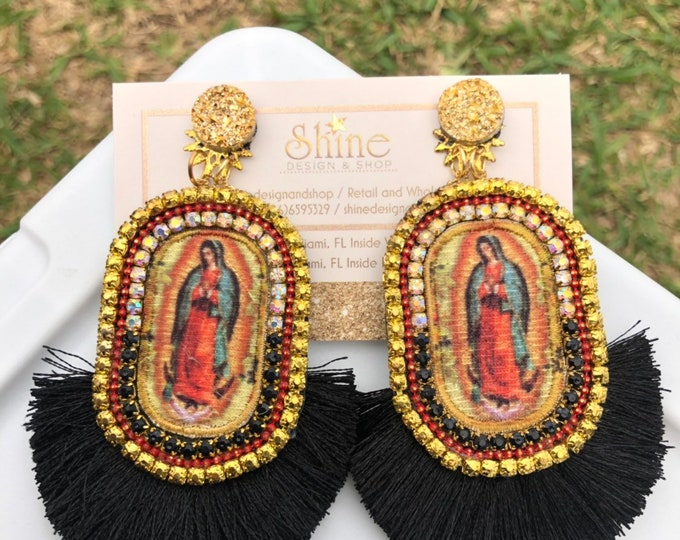 Guadalupe earrings. Black earrings, virgin mary earrings. Handmade. Statement jewelry.