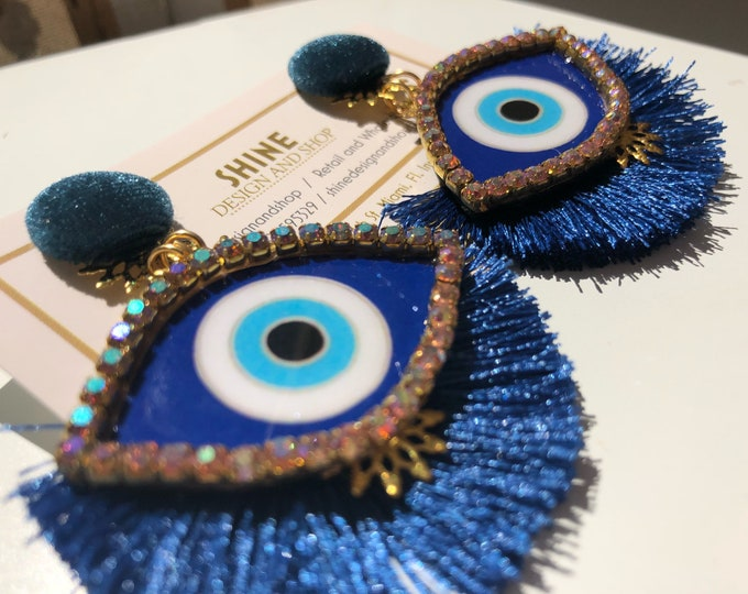 Evil eye earrings. Statement earrings. Handmade earrings. Blue Tassel earrings.