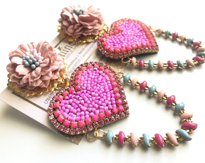 handmade pink heart earrings