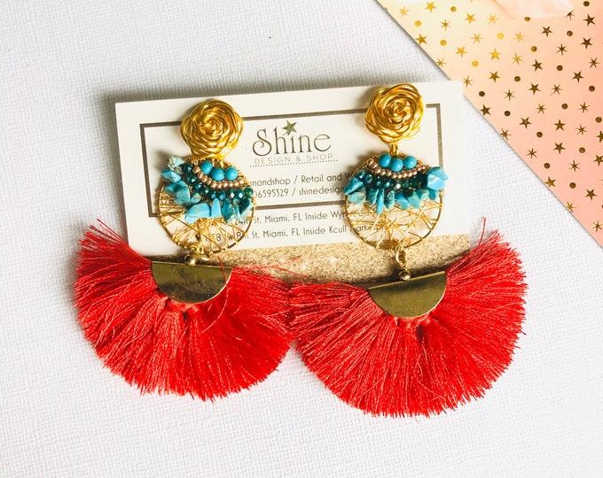 Wire earrings, turquoise earrings, Handmade earrings,  Statement earrings, Red tassel earrings, wire wrapped earrings
