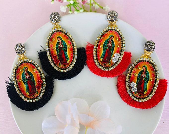 Guadalupe earrings, Virgin mary earrings, handmade statement earrings, catholic earrings, stunning earrings, protection earrings