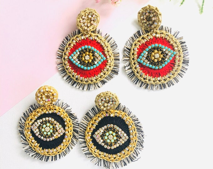 Evil eye earring, handmade crochet earrings, statement earrings, oversized earrings, stunning earrings, evil eye tassel earrings