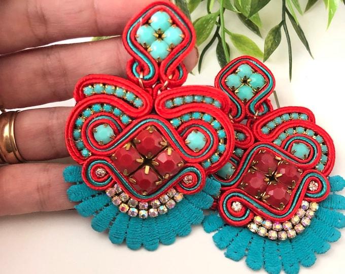 Soutache earrings. Statement earrings, handmade earrings, red earrings, blue earrings, light earrings, fashion. Gifts.