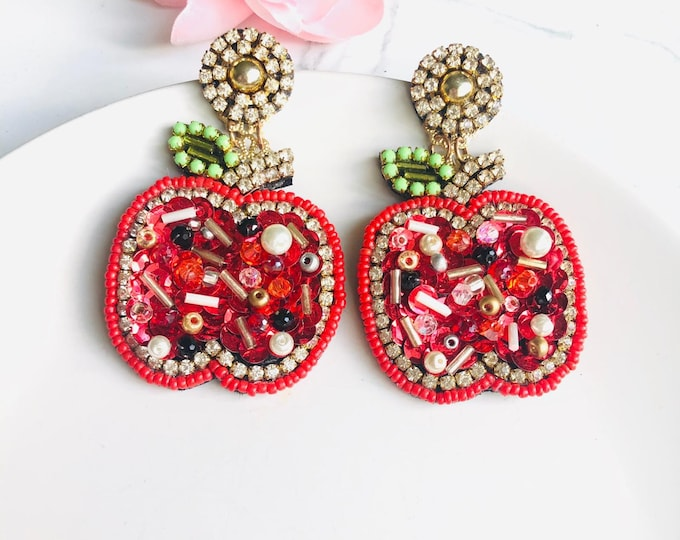 Handmade Red Apple earrings, beaded fruit earrings, funny earrings, statement earrings for summer, bold earrings, edgy earrings