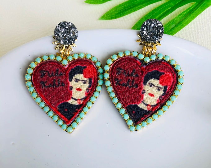 Frida Kahlo Earrings, Red heart earrings, heart patch earrings, statement earrings, mexican earrings, frida kahlo jewelry, edgy earrings