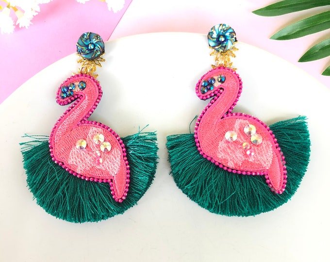 Flamingo tassel earrings, bird earrings, Handmade Statement earrings, funny earrings, summer earrings, tropical earrings, stunning earrings