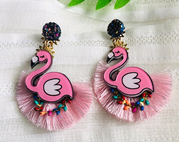 Flamingo earrings, bird earrings, Handmade Statement earrings, funny earrings, summer earrings, tropical earrings, stunning earrings