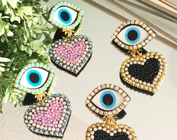 Evil eye earrings, heart earrings. Handmade. Statement earrings. Pink earrings. Bold earrings