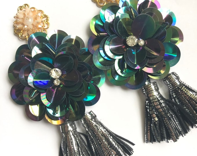 Handmade large sequin flowers with leather tassels