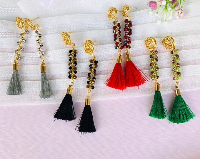 Wire Tassel Earrings, colorful beaded earrings, statement earrings, stunning earrings, wire wrapped earrings, beaded fringe earrings
