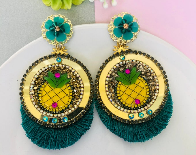 Handmade pineapple earrings, teal tassel earrings, statement earrings for summer, fruit earrings, tropical food earrings, green earrings