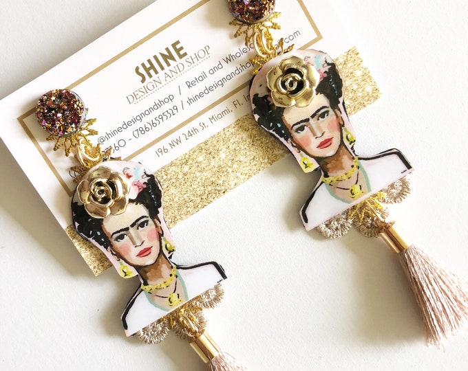 Frida Kahlo earrings, Tassel earrings, Handmade Statement earrings, bold earrings, frida jewelry, stunning earrings