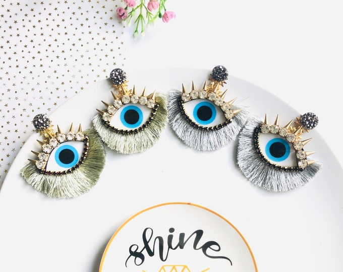 Evil Eye Spike Earrings, Turkish Jewelry, Tassel Earrings, Evil Eye Earring, Statement earrings, stunning earrings, wanderlust earrings