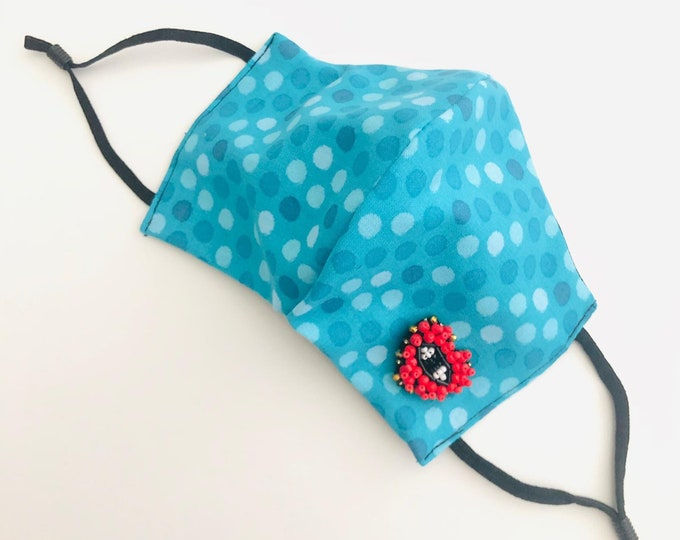 Evil eye Face Mask with filter, protective mask, washable facemask, reusable face mask, adjustable face mask, heart face covering