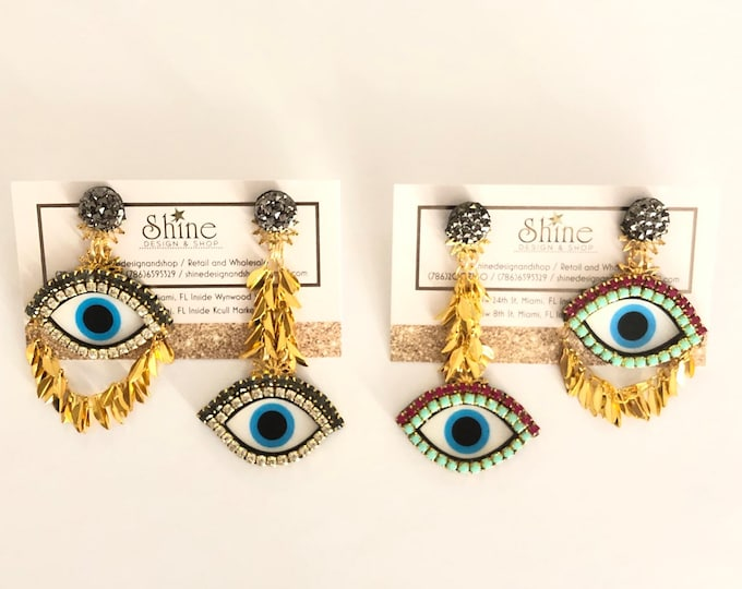 Asymmetric Evil eye earrings (small eye)