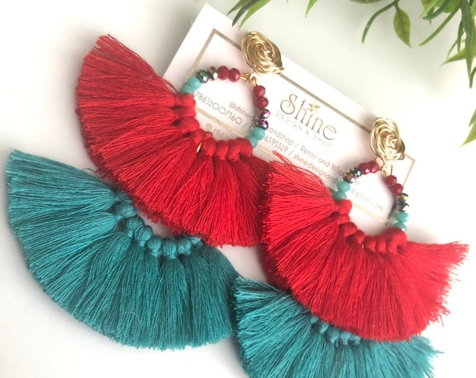 Handmade wire earrings. Large earrings. Red tassel earrings, blue earrings. Statement