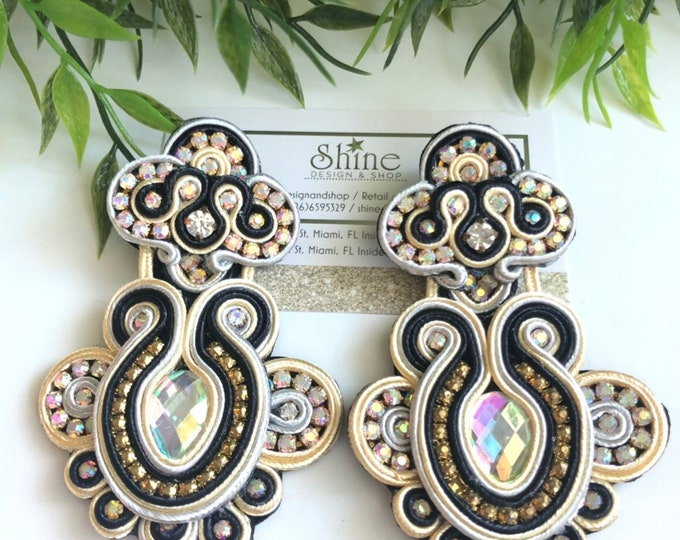 Handmade soutache earrings. Statement earrings. Bold jewelry