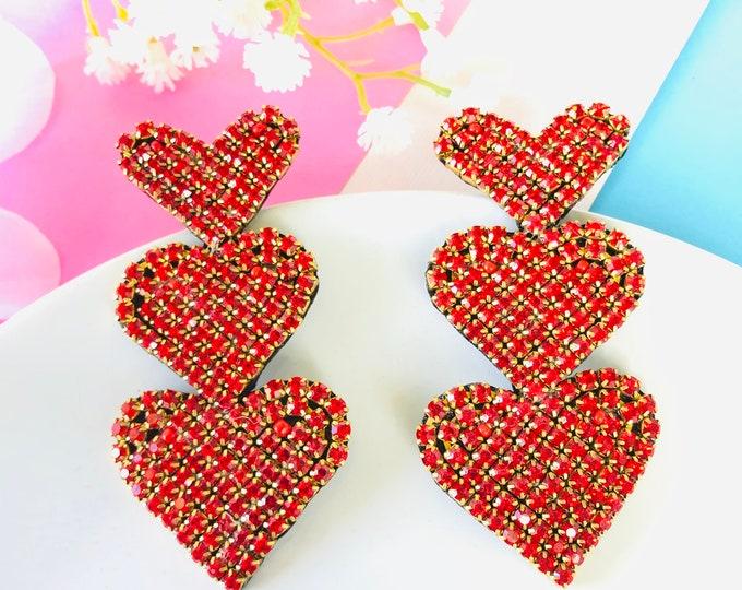 Red Heart earrings, big heart earrings, red rhinestone earrings, handmade statement earrings, wanderlust jewelry, edgy earrings