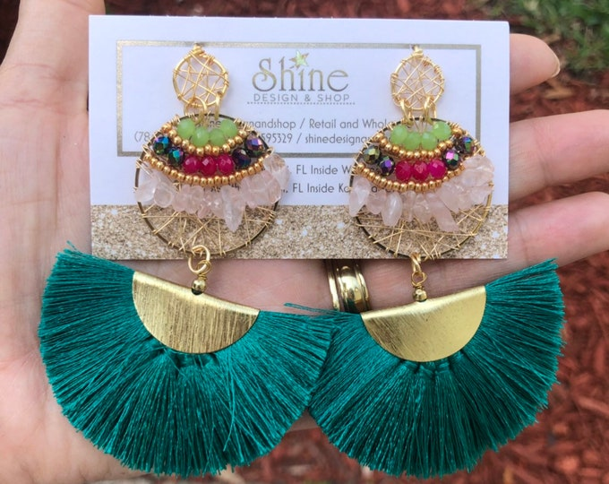 Handmade earrings, silver earrings, gold plated earrings, wire earrings,  rose quartz, light earrings, statement earrings.