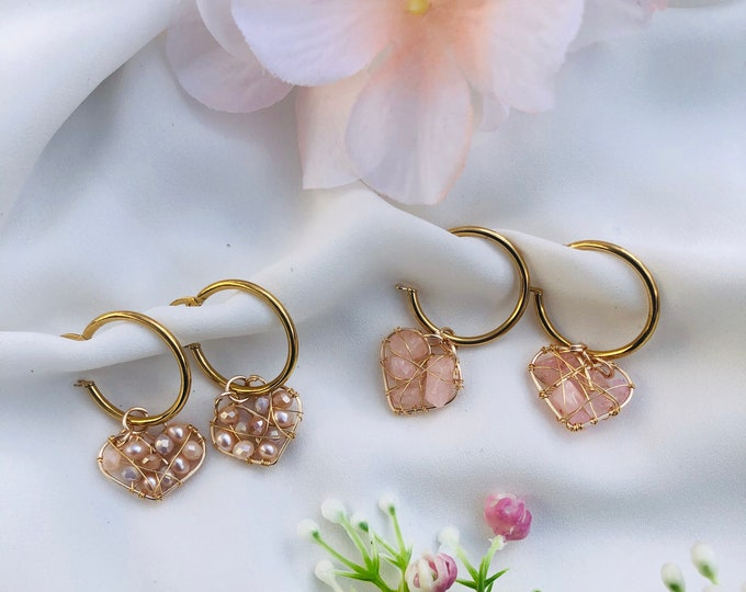 Rose quartz hoop earrings, heart hoop earrings, dainty hoop earrings, conch hoop, gold pearl hoops, tiny crystal hoops, stunning earrings