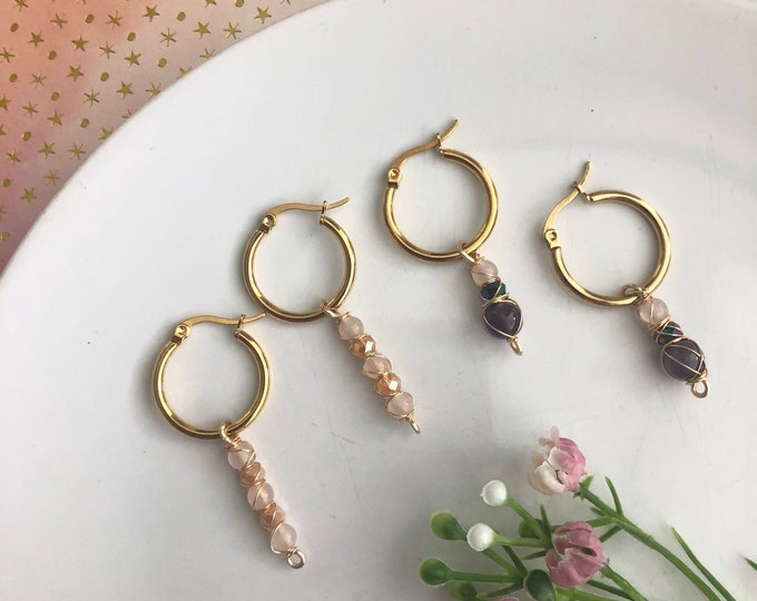 Gemstone Hoop Earrings,  stainless steel hoop earrings, Minimalistic Hoop, Rose Quartz Earrings, Amethyst Earrings