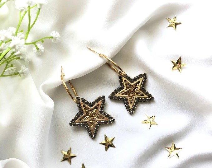 Hoops, Star Earrings, stainless steel earrings, handmade earrings, statement earrings.