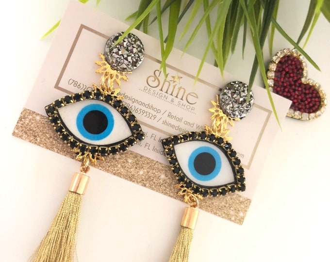 Evil eye earrings. Handmade earrings. Gold Tassel earrings. Statement earrings