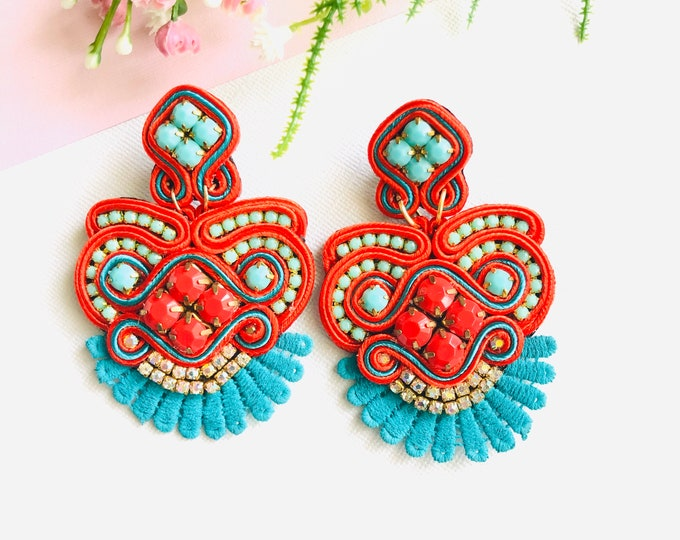 Soutache earrings, Statement earrings, handmade earrings, red earrings, blue earrings, light earrings, fashion earrings, Gifts for her