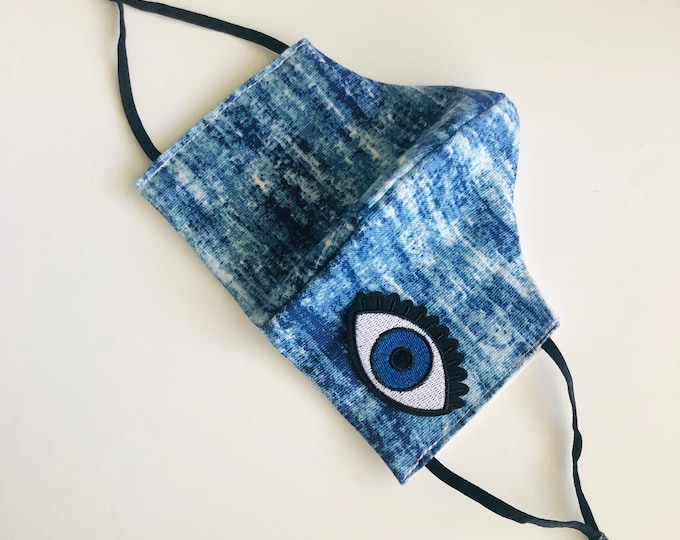 Evil Eye Face Mask with filter, protective mask, washable facemask, reusable face mask, adjustable face mask, face covering
