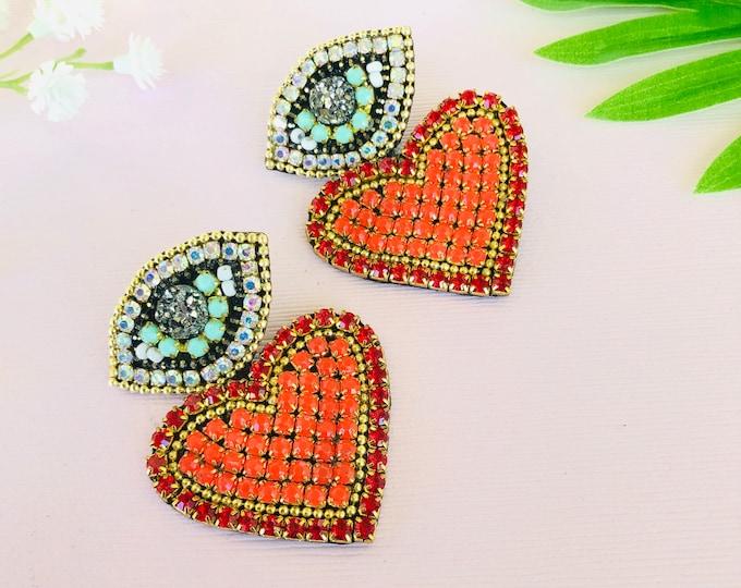 Stud Evil Eye Earring, beaded red heart earrings, handmade statement earrings, evil eye charm earrings, edgy earrings, funny earrings