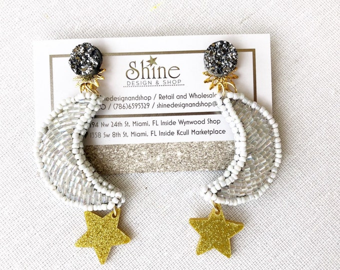 White moon with gold star beaded earrings