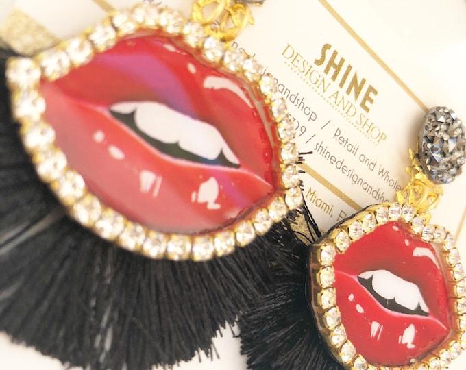 Handcrafted mouth tassel earrings